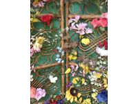 Large bamboo , double floral screen/display unit - ex stage prop