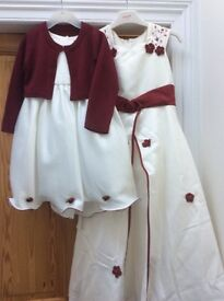 Burgundy/Ivory bridesmaid dresses x3