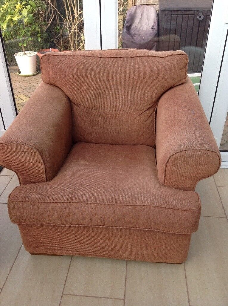 Armchair and storage footstool. Very comfortable chair and very useful footstool.