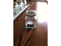 25 x Vintage feel square jars for tealights (wedding decoration)