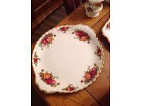 Royal Albert old country rose cake plate