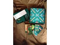 SCRABBLE GAME UNUSED COMPLETE PLUS LOAD OF TUTOR BOOKS TIPS HINTS ETC