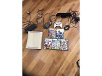 X box 360 bundle , console , games and Kinect , and controllers , leads etc