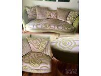 Stylish Modern Green Sofa with Footstool