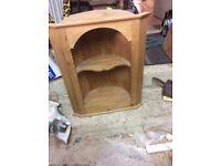 Unusual barrel backed vintage pine corner cupboard