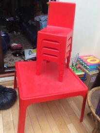 Red Joly Kidz table and 4 chairs