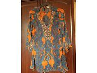 Two Wallis large (euro 46 size) chiffon style dress tops, unworn and nearly new, warm colours