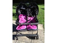 Double pushchair buggie with raincover