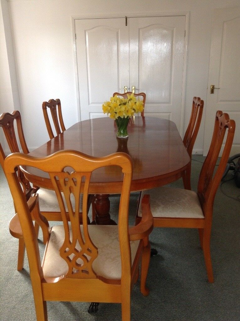 yew dining room furniture | Yew wood dining table & 6 chairs for sale | in Little ...