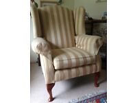 Wing back armchair, reasonable condition, gold striped linen fabric, good upholstery project