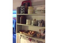 'Country style' open shelf unit with peg hooks