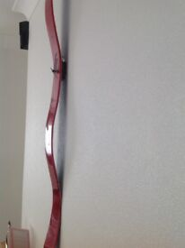 Red wavy glass wall clock . Like new . Exellent condition