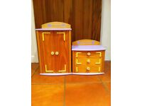 BEAR FACTORY WOODEN WARDROBE & CHEST DRAWERS FOR BUILD A BEAR CLOTHES