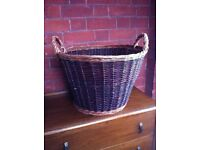 Vintage Style Wicker Log Basket for Fireplace Fuel or Laundry or Storage