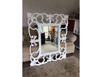 Large white mirror leaf & ribbon decorative frame