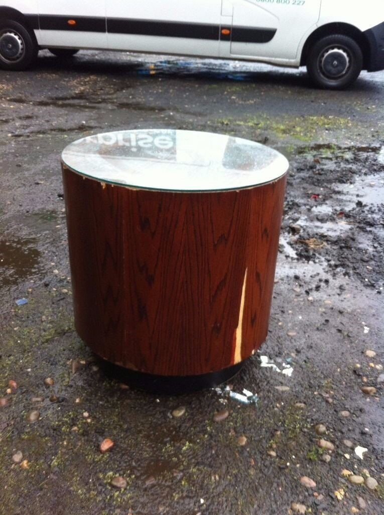 Unusual large drum table with glass top/retail display