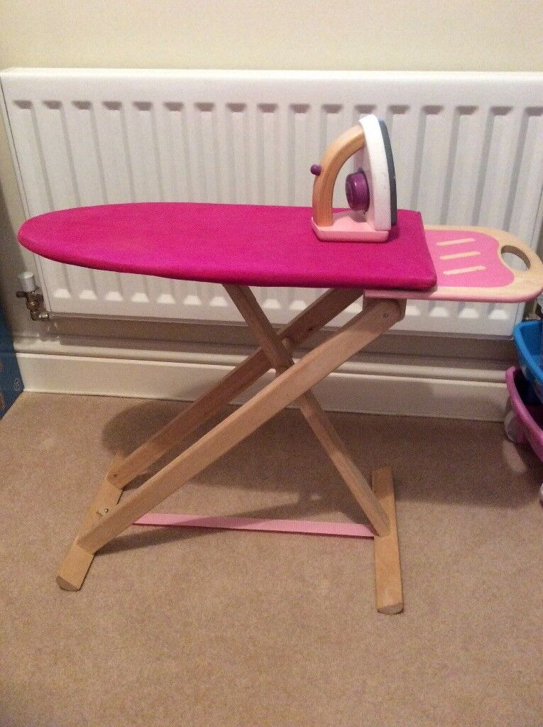 Wooden play ironing board & iron