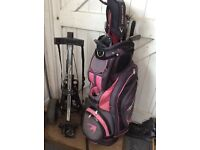 Benross navy and pink golf bag and Bagboy trolley