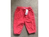 Brand new with tags girls pink cords size 6-9 months