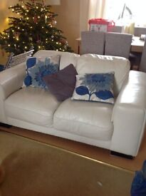 Light cream leather sofa 2 seater good condition need gone to make room after move