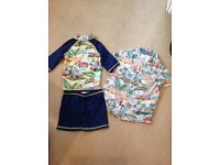 Monsoon swim set and short sleeved shirt age 3-4