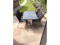 Black Garden Table and 4 Chairs, Gloss Black Glass Top
