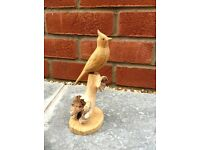 Ornament,Hand carved Parasite wood Bird on base