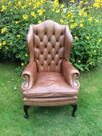 Vintage Leather Wing Back Chair