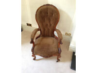 Antique/Vintage Mahogany Wood Frame Armchair