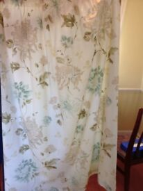 Cream Curtains with a soft pastel pattern
