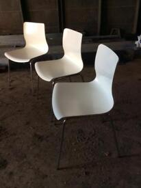 3 x Office Home Meeting Chair Chairs Stool White With Chrome Legs Excellent Condition