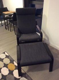 Ikea Poäng armchair and footstool