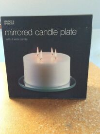Mirrored candle plate with four wick candle