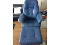 Leather chair and matching stool. Good condition blue colour