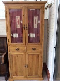 Glazed Solid Oak Display Cabinet
