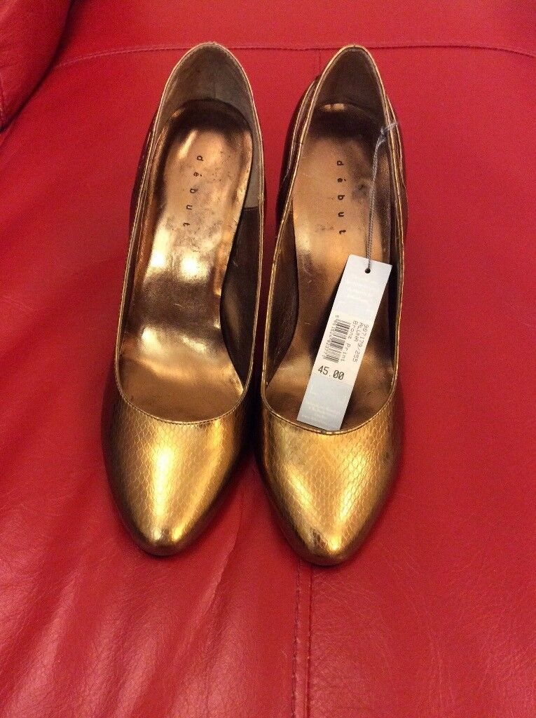 Real leather bronze high heels size 6