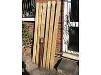 6 NEW TIMBER FENCE POSTS and 1 METPOST SPIKE TO TAKE WOODEN POSTS.