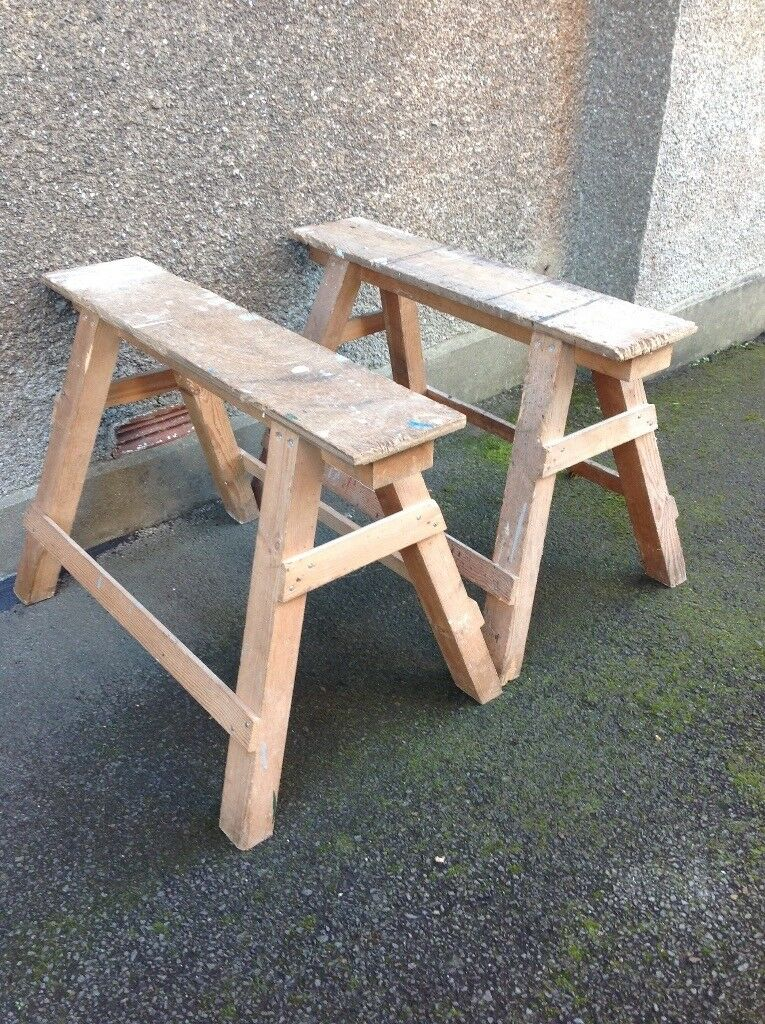 A Pair of Wooden Saw Horses