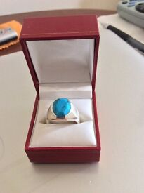 Gents Silver & Turquoise Ring