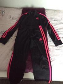 Adidas tracksuit black/neon pink 8/10