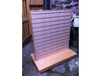 Large mobile double sided slat wall display unit