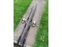 2 , 9' uptide sea fishing rods & Pen Reels.