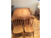 Pine Dinning Table and Chairs