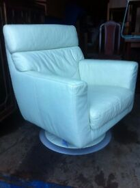 Stunning leather swivel armchair