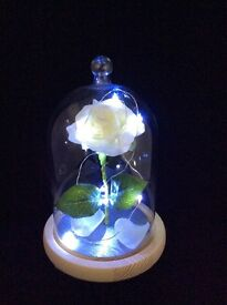 WHITE ROSE IN GLASS DOME CLOCHE JAR WITH LIGHTS, BEAUTY AND THE BEAST INSPIRED ORNAMENT