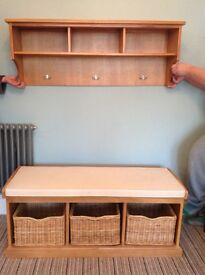 Cotswold oak hall bench and coat rack cost £300 hallway storage