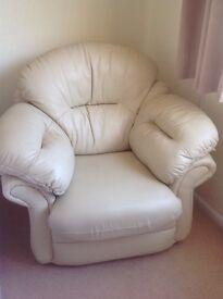 Cream leather armchair