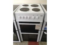 Beko white electric cooker. 4 plate electric hob. 50cm. New/graded 12 month Gtee