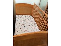 Cosatto 2 in 1 convertible cot bed with mamas and papas mattress