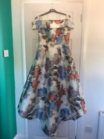 Chi chi London floral dip hem dress size 14
